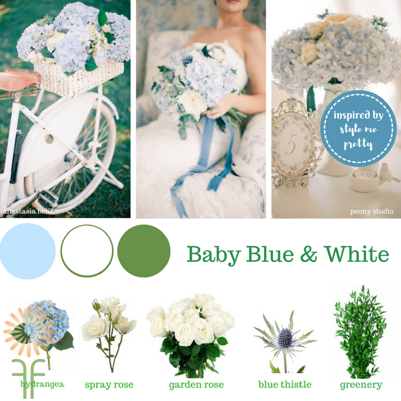 blue white green wedding palette flower package diy wedding revised