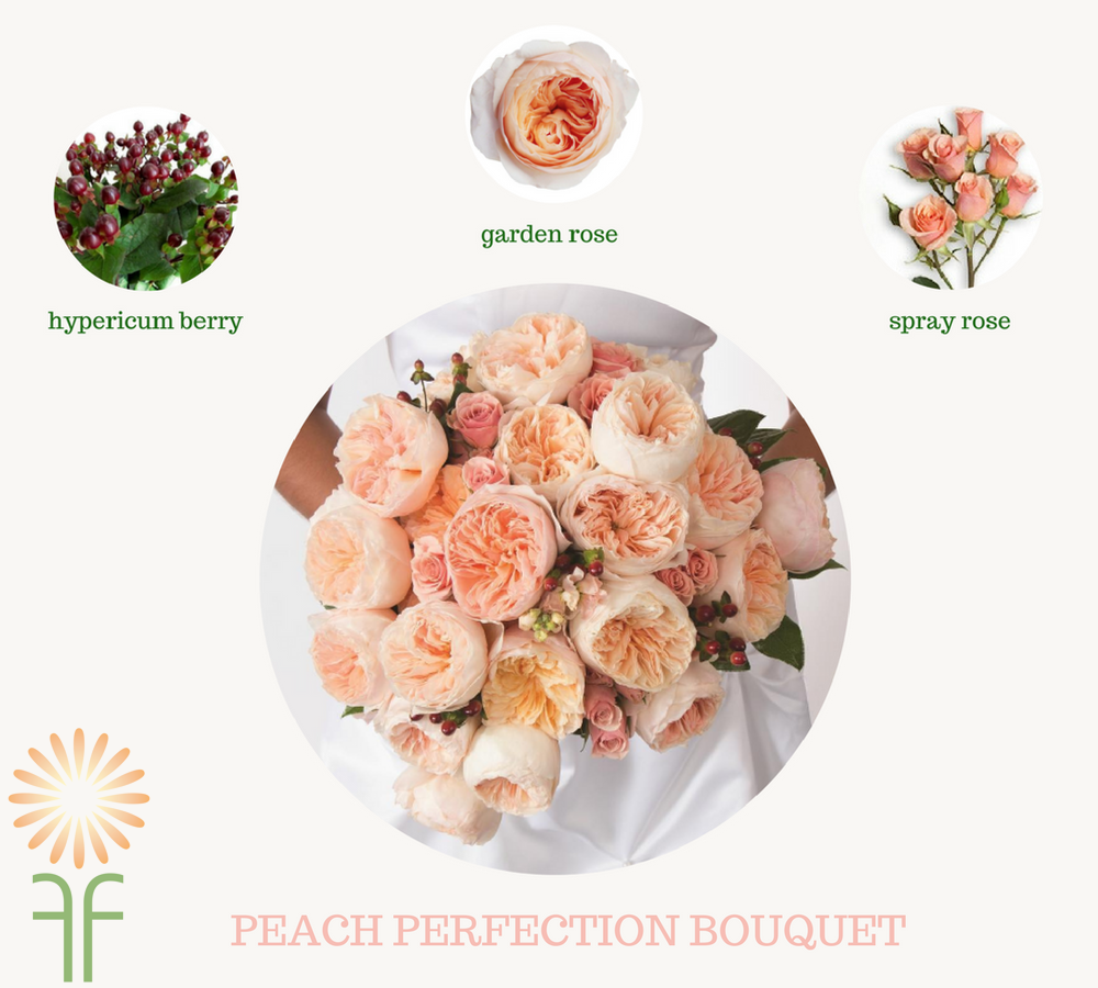 Wedding Flower Package Peach Garden Rose Bouquet Fabulous Florals