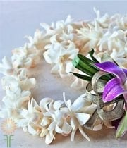 White Dendrobium Orchid Lei, Double