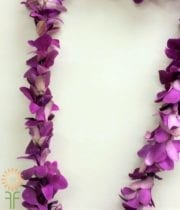 Purple Dendrobium Orchid Lei, Single