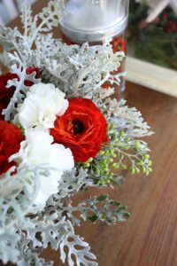 ranunculus dusty miller carnation holiday decor