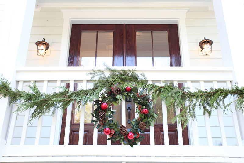 Holiday garland wreath decor porch