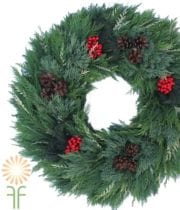 Holiday Evergreen Mix Wreath,  24″