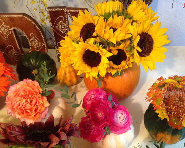 Pumpkins as DIY Fall Centerpieces