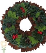 Magnolia, Leyland, And Australian Pine Mix Wreath